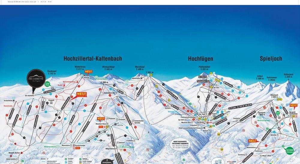 Pistenplan Hochzillertal | Kashütte