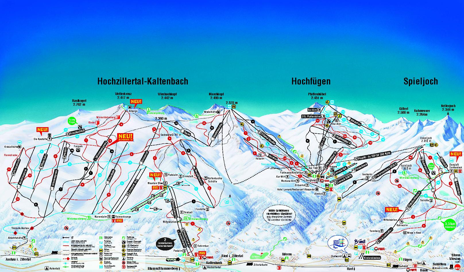 Pistenplan Skigebiet Hochzillertal   Kashütte